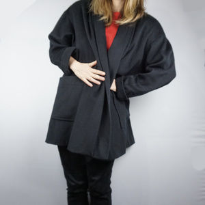 VIntage 80s Oversized Open Front Wool Coat S